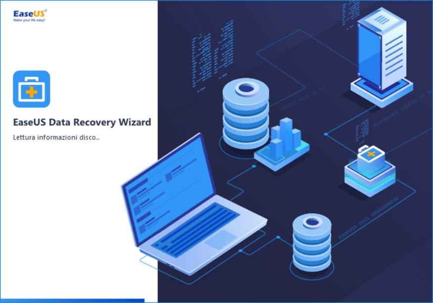 EAseUS Data Ricovery Wizard: schermata di avvvio