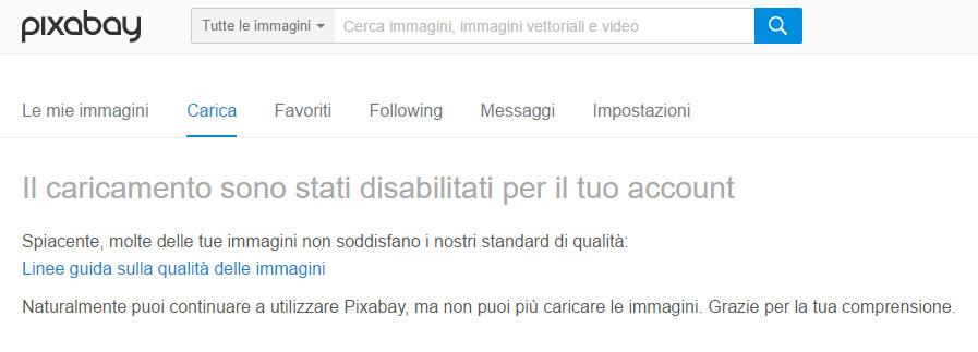 Messaggio Pixabay account caricamenti disabilitati