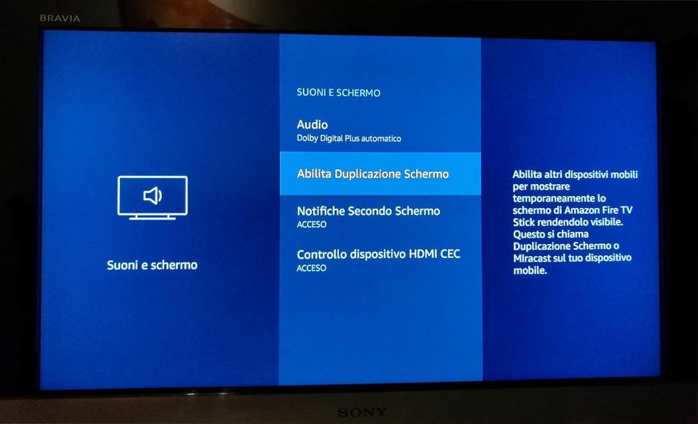 Amazon Fire TV duplicazione schermo