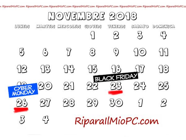 Calendario Black Friday e Cyber Monday 2018
