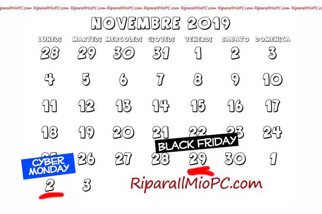 Calendario Black Friday e Cyber Monday 2019