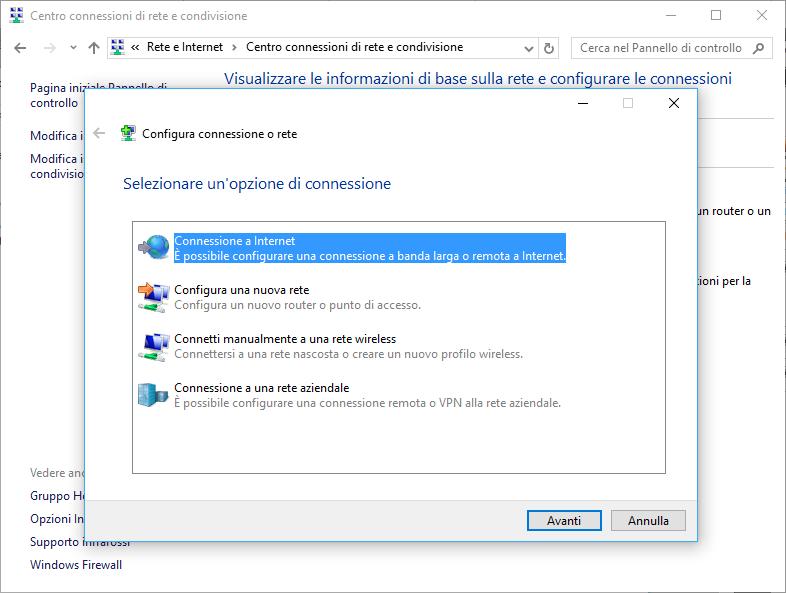 Schermata crea connessione internet Pannello di Controllo Windows 10