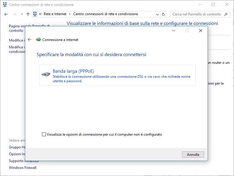 Schermata crea connessione banda larta PPPoE Pannello di Controllo Windows 10