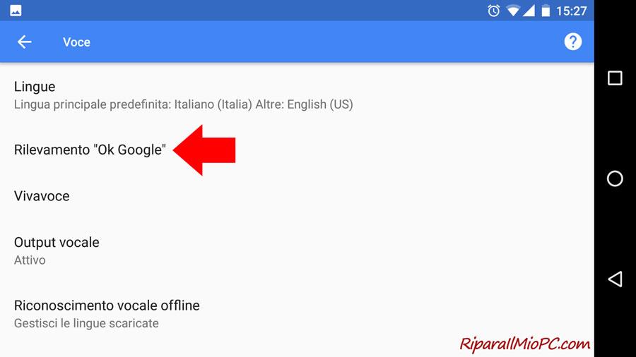 Rilevamento OK Google