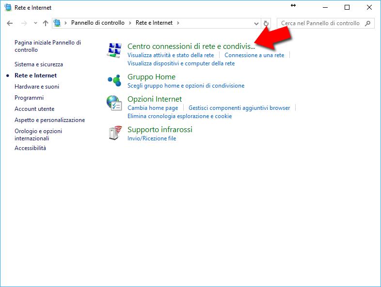Schermata Rete e Internet Pannello di Controllo Windows 10